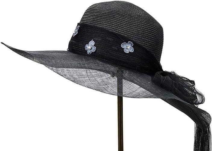 Xuyaowzr Chapeau de Paille de Parasol de Prougeection Solaire de Bord de mer d'été, Fil importé de Chanvre philippin importé PP, Chapeau de Marque Haut de Gamme