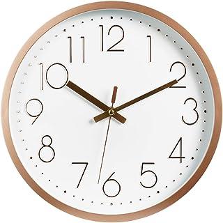 "Topkey 12"" Moderne Horloge Murale Mute Silencieuse Pendule Murale pour La Chambre Cuisine Salon - Or Rose"