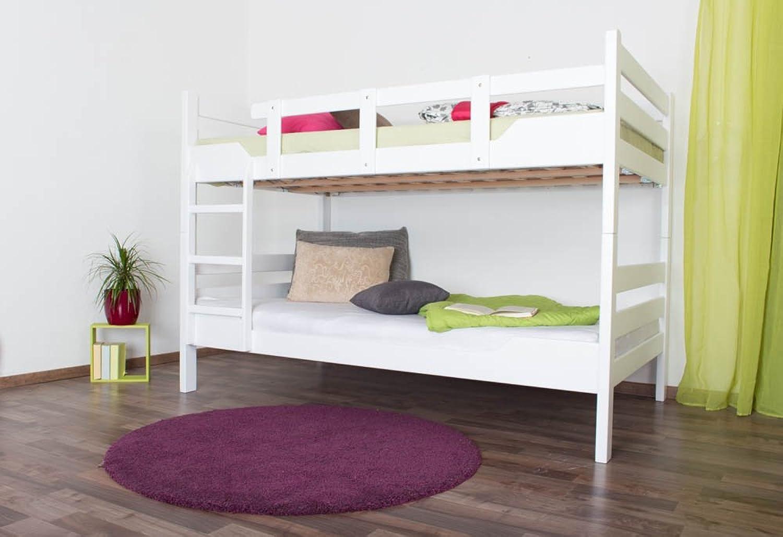 Etagenbett für Erwachsene Easy Premium Line  K16 n, Kopf- und Futeil gerade, Buche Vollholz massiv wei lackiert - Liegeflche  140 x 190 cm, teilbar