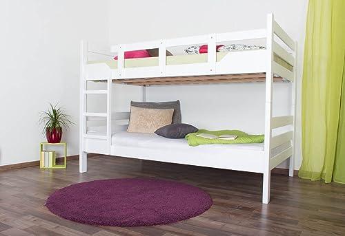 Etagenbett für Erwachsene Easy Premium Line  K16 n, Kopf- und Fu il gerade, Buche Vollholz massiv Weißlackiert - Liegefl e  140 x 190cm  , teilbar