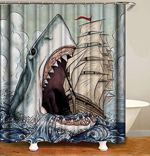 YULUOSHA Big Mouth Shark Wasserdichter Duschvorhang Gefährliche große Fische Break The Ship Duschvorhang-Sets Ozean Thema Badezimmer Dekor mit Haken waschbar 182,9 x 182,9 cm Blau
