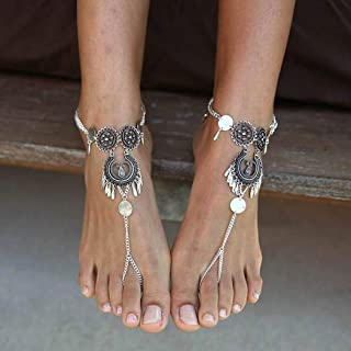 Zoestar Gypsy Coin Anklet Bracelet Tassel Layered Foot Jewelry Silver Beach Barefoot Sandal for Womenand Girls