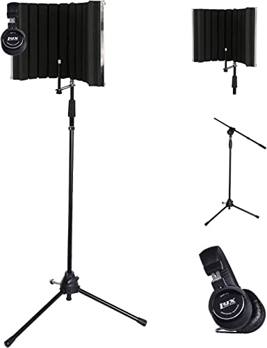 high quality LyxPro VRI-30 Portable Acoustic Isolation Instrument Shield, Sound Absorbing, Reflection Panel with Portable lowest & Foldable online Strong Durable TMS-1 Adjustable Microphone Stand Boom Arm and Studio Heaphones outlet online sale