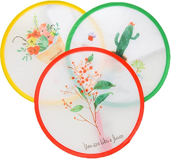 ISuperb Set Of 3 Unit Japanese Style Foldable Beautiful Pattern Round Handheld Folding Fans Great Wedding Decoration Birthdays Home Gifts Random Color Pattern