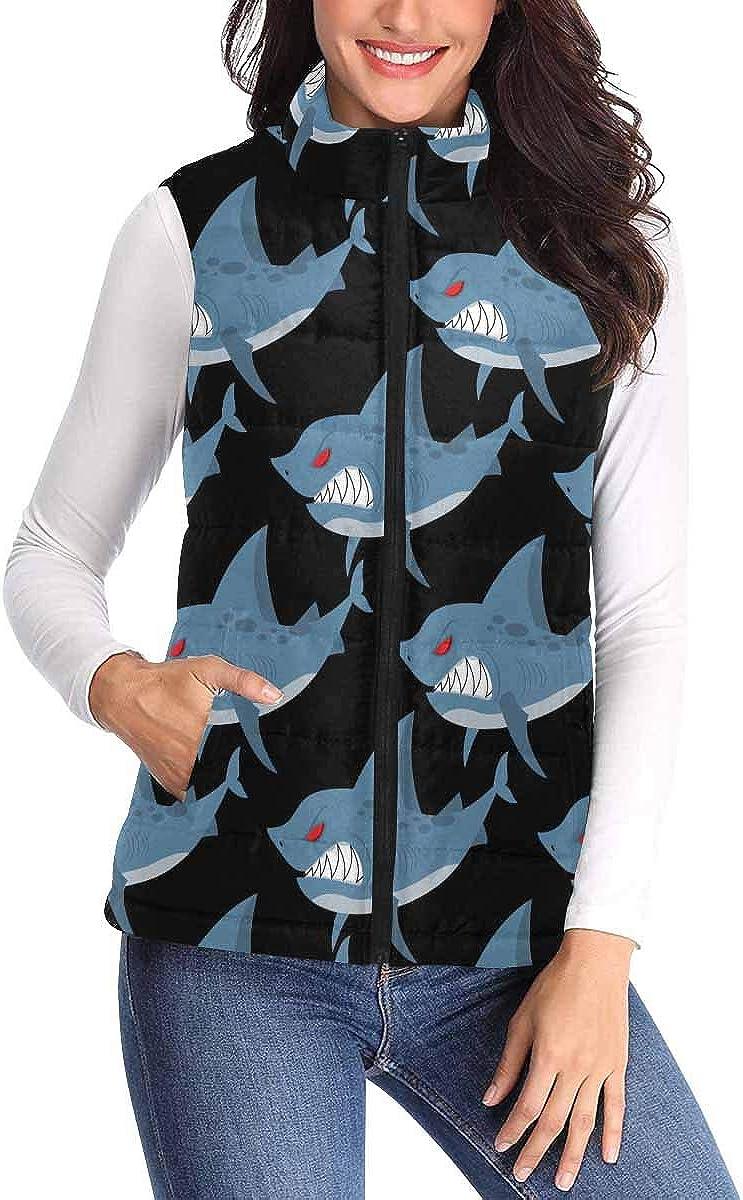InterestPrint Women's Stand Collar Lightweight Gilet Quilted Zip Vest Anemones and Roses Flowers