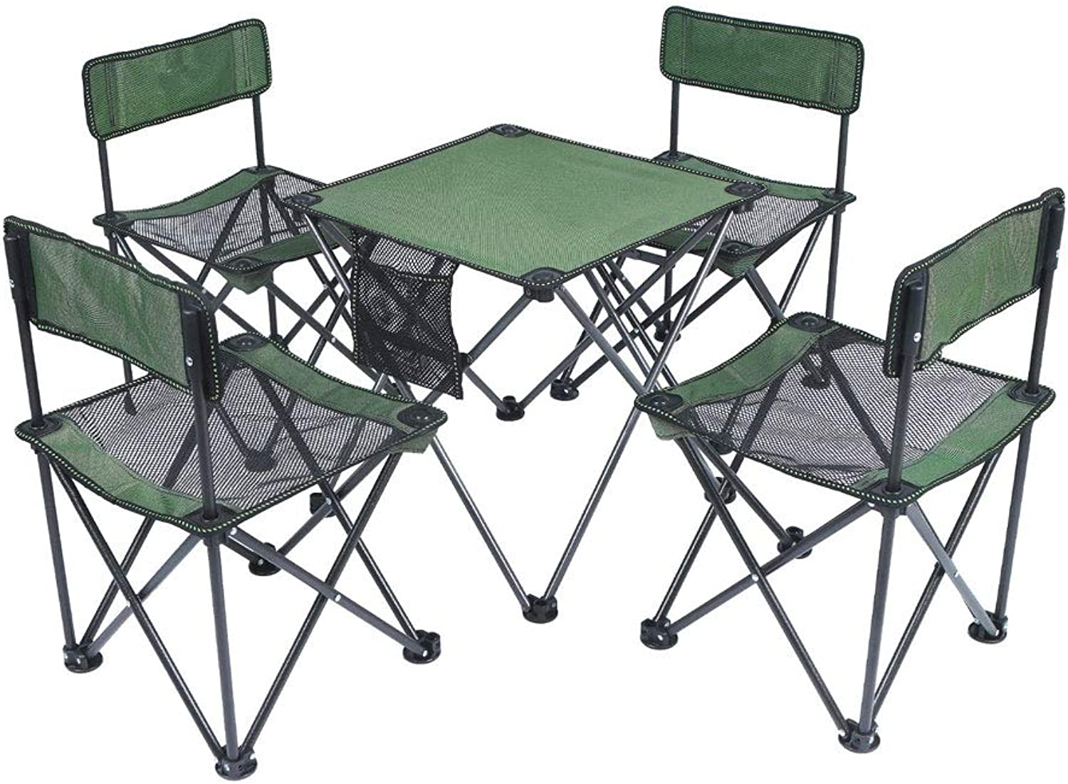 FH Outdoor Folding Table and Chairs, Camping Beach Self-Driving Tour Mini Portable Folding Table and Chair Set of Five, Green