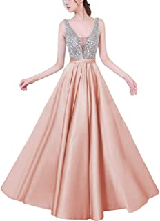 Prom Dresses 2019 Sexy V-Neck Crystal Beading Open Back Long Evening Gown