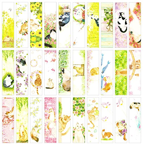 Cat Theme Japanese Style Colorful Bookmarks, 30 PCS (Daily Cat)