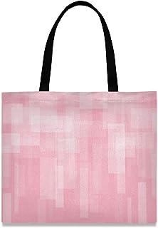 LUPINZ Damen Handtasche aus Segeltuch, abstrakt, geometrischer Druck, Pink