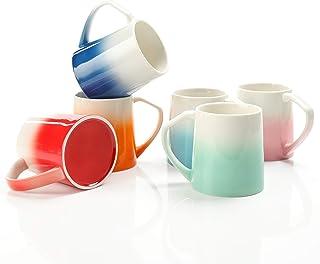 TEANAGOO Porcelain Coffee Mugs Set Of 6, 16 Ounce For Coffee, Tea, Cocoa, Set Of 6, MS025W Warm Sorted Colors, Teal Coffee...