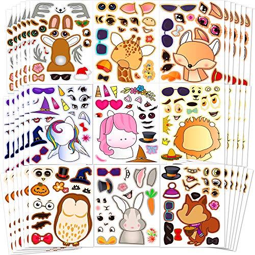 「自分の動物を作ろう」動物ステッカー 子供シール 自分の動物を作ろう100枚教育ステッカー 20種類の動物デザイン ユニークなステッカー 子供へのご褒美やギフトに最適