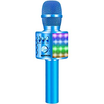 BONAOK Bluetooth Wireless Karaoke Microphone with LED Lights, 4 in 1 Portable Rechargeable Sing Mic Speaker for Android/iPhone/iPad/PC Christmas Kids Adults(Q37L BLUE)