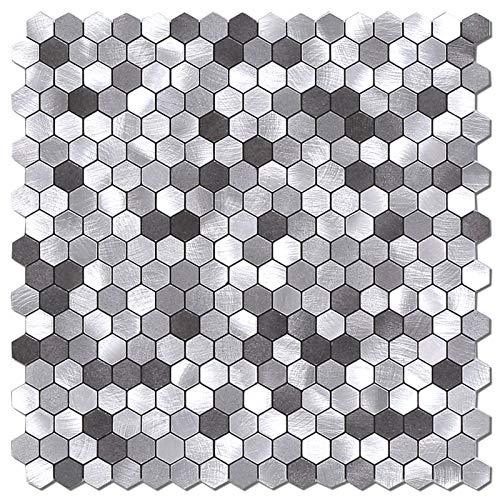 Benice Hexágono Pegatinas De Azulejos De Metal Para Cocina, Autoadhesivas Mosaicos De Pared, Azulejos De BañO, Pelar Y Pegar, 26,5x26,5cm, 5piezas Gris
