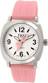 TKO Women Breast Cancer Awareness Pink Ribbon Wrist Watch with Textured Silicon Rubber Strap