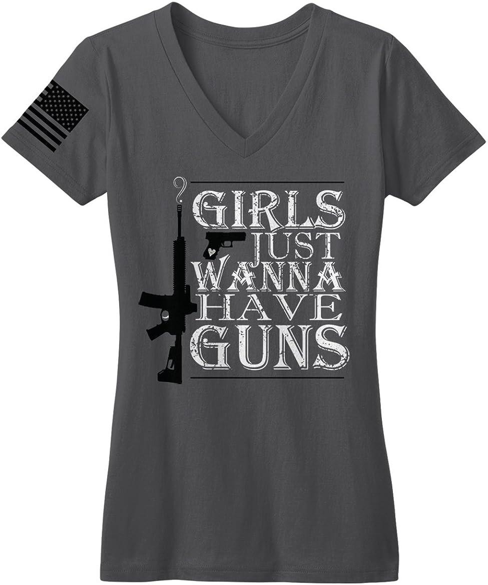 Bang Bang Apparel Womens Girls Just Wanna Have Guns V-Neck Tee