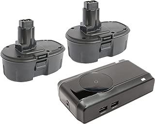 2-Pack DeWalt 18V Battery + Charger Replacement - Compatible with DeWalt DC759, DC9096, DW059, DC385, DC390, DC720KA, DW938, DCD940KX, DC925, DC988, DC618, DC608K, DW056, DCD950KX, DC759KA, DC330, DW960, DC385K, DC515K, DW059K-2 (1300mAh, NICD)