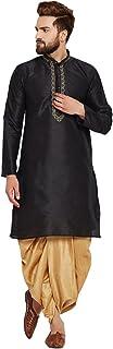 Sojanya (Since 1958) Men's Black and Gold Dupion Silk Dhoti Kurta Set