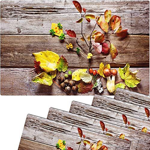 matches21 Tischset Platzset Herbst MOTIV buntes Herbstlaub auf Holzbrett 6 Stk. Kunststoff abwaschbar je 43,5x28,5 cm