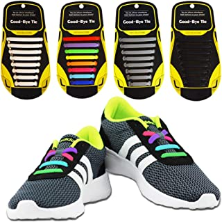 4 Pairs No Tie Shoelaces for Kids and Adults, Lazy Elastic Waterproof Flat Silicone Shoe Laces for Sneaker Boots Board and Casual Shoes
