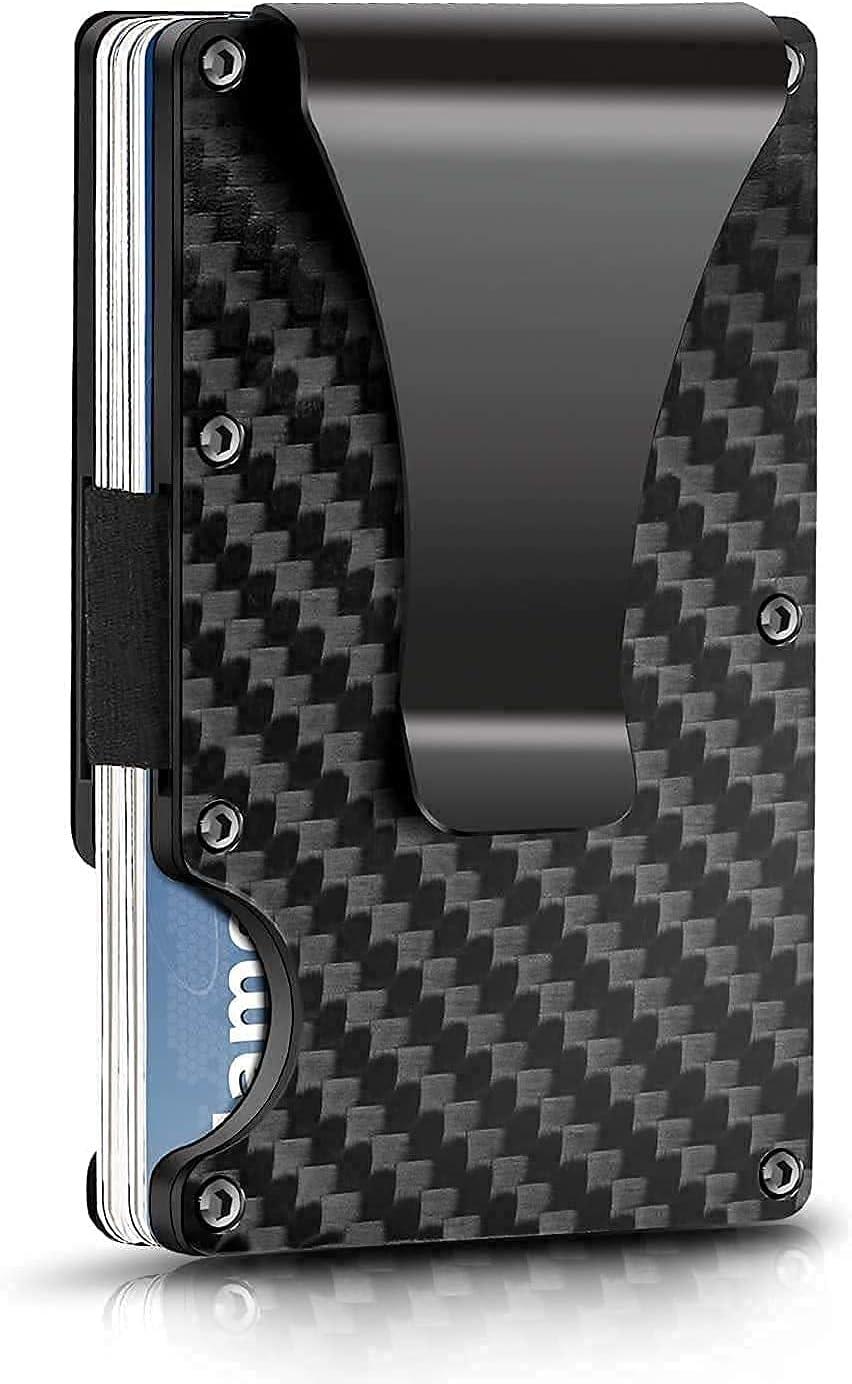 Real Carbon Fiber Minimalist RFID Blocking Card Wallet Holder Metal Men's Wallet with Money Clip (Black)