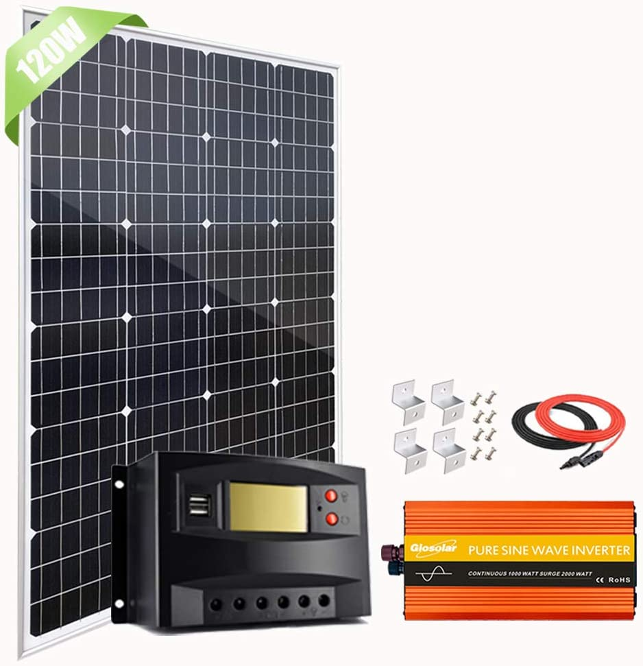 120W 12V Solar Panel Super special price Kit with Pure 1000W price Peak 2000W Wav Sine