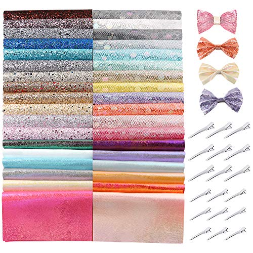 Caydo 36 Pieces Glitter Faux Sheets Bow Making Kit with Hair Clips for Bows Hair Clips Craft Making, Handbags and Other Crafts(6.3 x 8.3 inch)