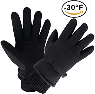 OZERO Winter Gloves Water Resistant Thermal Glove with Deerskin Suede Leather and Insulated Polar Fleece for Driving/Cycling/Snow Ski in Cold Weather - Warm Gifts for Men and Women