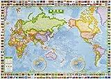 スクリーンマップ 世界全図 国旗入り (ポスター 地図 | マップル)の写真