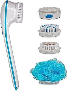Elektryczna szczotka do kąpieli 5 w 1, elektryczna wodoodporna szczotka do twarzy i ciała z uchwytem i 4 główkami do łatwe...