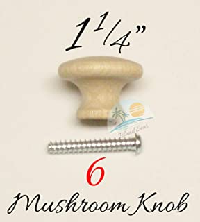 "6 Pcs - 1 1/4"" Round Wood Cabinet Knob Pulls Birch Cabinet Knob Unfinished Mushroom Style Knobs for Cabinets or Drawer Knobs with Screws - Fancy Bifold Wardrobe Cupboard Handles"
