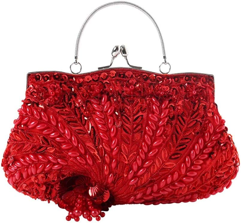 HttKse Evening Bags Classic Handmade Beaded Banquet Bag Personalized Sequin Clutch (Color : Red, Size : 30cm x 16cm)