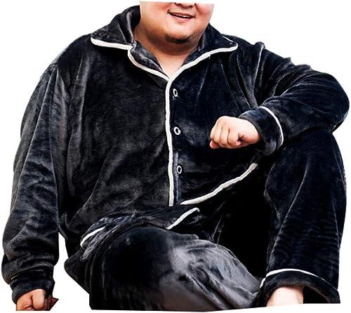 XYZJIA Pyjamas Chemise de Nuit Pyjamas Grande Taille Pyjamas épaississants VêteHommests de Maison en Flanelle, Pyjama gris foncé, 6XL