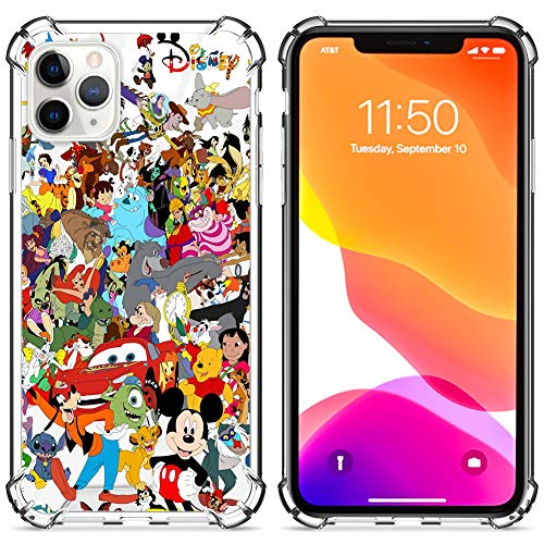 DISNEY COLLECTION Clear Case for iPhone 11 Pro Max Cute Disney Family Pattern Designed Hard PC Back Cover with 4 Corner Protection Slim Cover iPhone 11 Pro Max 6.5 inch