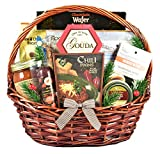 Gift Basket Village Happy Holidays For Him - A Holiday Gift Basket for Men with Meat and Cheese, Crackers, Seasoned Nuts, Snack Mix and Grilling Essentials, 7 pound