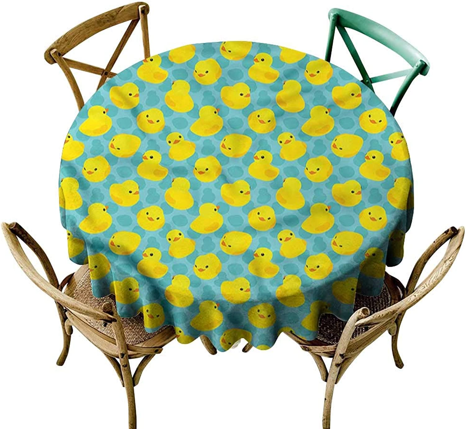 Familytaste Duckies,Spillproof Tablecloths Kids Babies Bathroom Toys D 54  for Round Tables