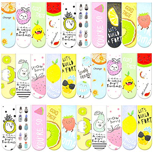 30 Pieces Cute Magnetic Bookmarks for Women/Men, Dual Sided Rainbow Film Laminated Book Markers for Girls, Funny Magnetic Bookmarks for Kids, Book Marks Bulk Page Clip Reading Giveaways (Fruit)
