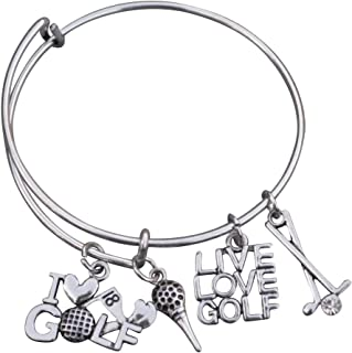 Golf Bracelet, Golf Jewelry- Golf Charm Bangle Bracelet, She Believed She Could Gift for Golf Players