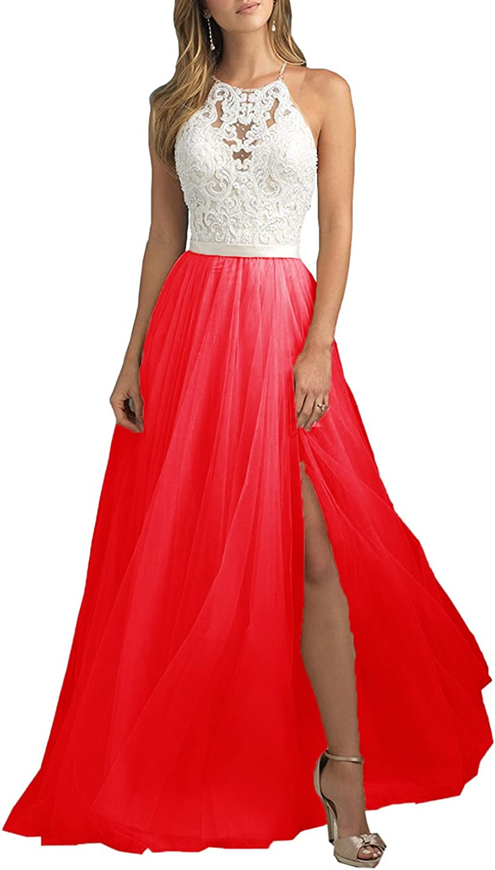 XSWPL Women's Halter ALine Lace Evening Prom Dress Long Formal Gown Side Slit