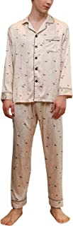 YAOMEI Mens Pyjamas Set Satin Long, 2019 Mens Silky Long Sleeves Nighties Couples PJ Set Sleepwear Nightwear, Lingerie But...