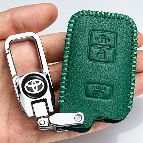 Genuine Leather Car Key Cover key Case Suit for toyota Car Remote key Holder Cover Suif for 2018 2017 2016 Toyota Tacoma Land Cruise Prius key fob cover ,Smart Key