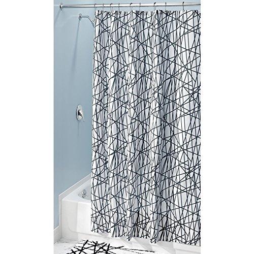 InterDesign Abstrakter Stoff-Duschvorhang für Master, Gäste, Kinder, Wohnheim, 182,9 x 182,9 cm, schwarz & weiß Long schwarz