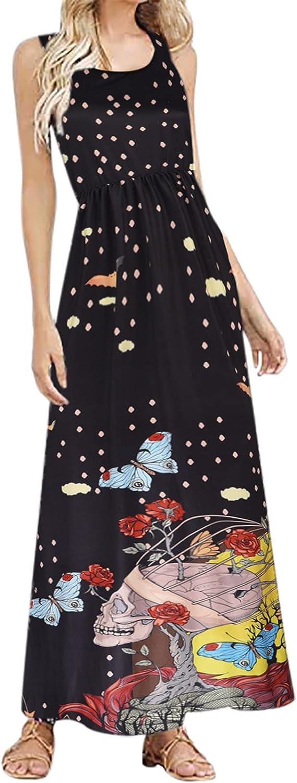Women Plus Size Maxi Dresses, Halloween Skull Graphic Vintage Oversize Scoop Neck Floral Tank Top Maxi X-Line Sundress