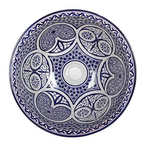 Mediterrane Keramik-Waschbecken Fes108 rund Ø 40cm blau-weiß H 18 cm Handmade Waschschale   Marokkanische Handwaschbecken Aufsatzwaschbecken für Bad Waschtisch Gäste-WC Badezimmer