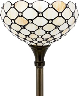 Tiffany Style Torchieres Floor Lamp Table Desk Standing Lighting Wide 12 Tall 66 Inch Crystal Pear Bead Stained Glass Lampshade for Living Room Bedroom Antique Set S005 WERFACTORY