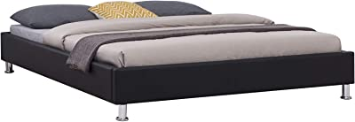IDIMEX Lit Double futon pour Adulte Nizza avec sommier Queen Size 160 x 200 cm Couchage 2 Places / 2 Personnes, Pieds en métal chromé, revêtement synthétique Noir