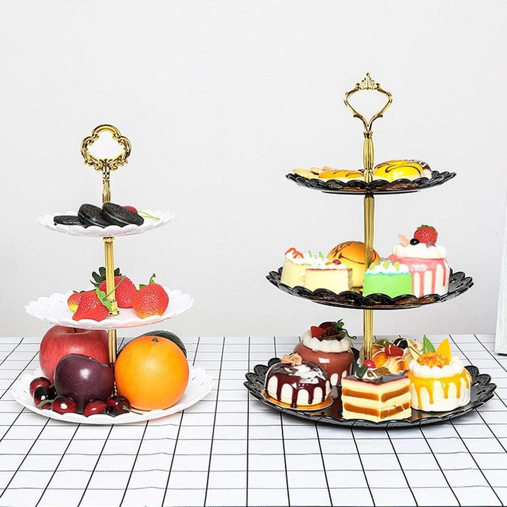 Blanc Lot de 2 Pr/ésentoir /à G/âteaux Assiette /à Dessert en Plastique 3 Couches Pr/ésentoir /à Bonbons Aux Fruits Adapt/é pour Les Mariages et Les Anniversaires de Mariage