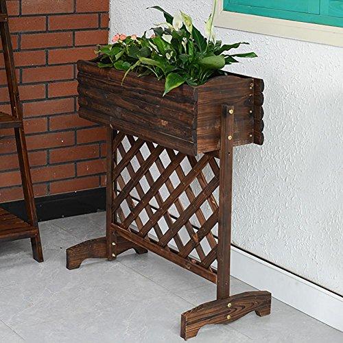 RJZHJ Bois massif Réseau net Carbonisation Anti-corrosion Support de fleurs de plein air jardin patio fleurs Présentoir intérieur balcon Pot de fleurs Bonsai cadre , Brown , 74*81cm