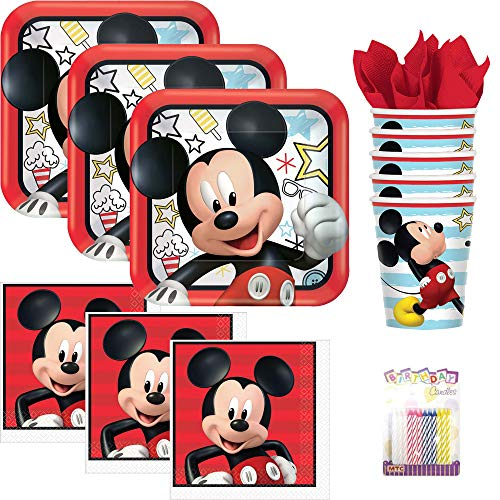 Disney Mickey Mouse On The Go Party Supplies Pack Serves 16: Dinner Plates, Luncheon Napkins, Cups, and Birthday Candles