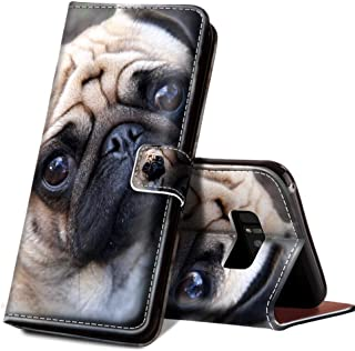 ONSPACE Wallet Case For Samsung Galaxy Note 8, Magnetic Protective Cover Case Card Slots and Wrist Strap, Custom Printed Cute Funny Pugs Wallet Case, PU leather Stand Feature Galaxy Note 8 Case