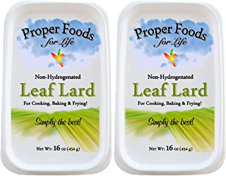 Proper Food's - 100% Pure Leaf Lard - Non-Hydrogenated - for Cooking, Baking and Frying - 16 oz (Pack of 2)